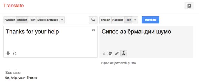 Англо таджикский переводчик