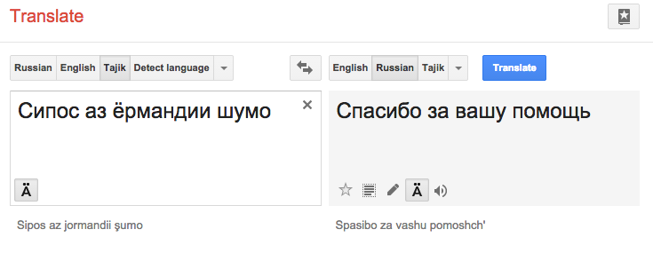 Таджикско-русский словарь, Таджикско-русский переводчик