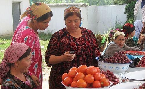 wooman, mobile, Tajikistan